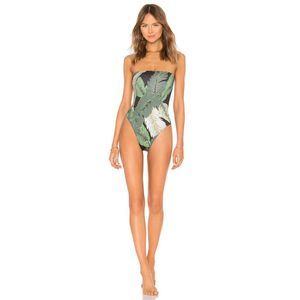 BEACH RIOT Amber Palm Strapless One Piece Swimsuit